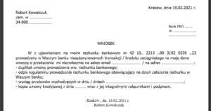 kopia umowy prowadzenia rachunku bankowego